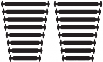 КОСЫЕ Черные АнтиШнурки 8+8 (16 шт. комплект)