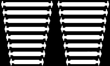 КОСЫЕ Белые АнтиШнурки 8+8 (16 шт. комплект)