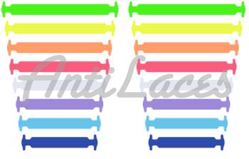 Косые, силиконовые шнурки (АнтиШнурки) для кроссовок и кед, 16 шт. (длина: от 38мм до 68мм)